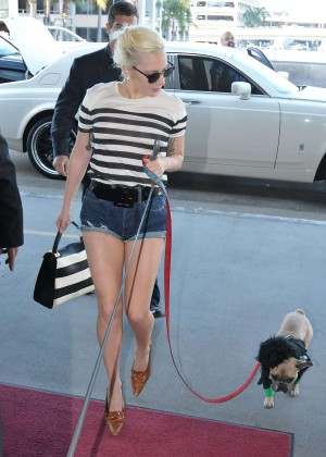 Lady Gaga in Jeans Shorts at LAX Airport in LA