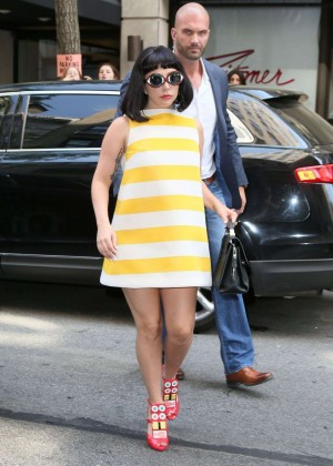 Lady Gaga in Short Dress Arriving at a Hotel in NYC