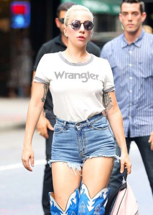 Lady Gaga Lady Gaga in Denim Shorts Arriving at the recording studio in NY