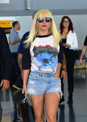 Lady Gaga in Denim Shorts at JFK Airport in NY