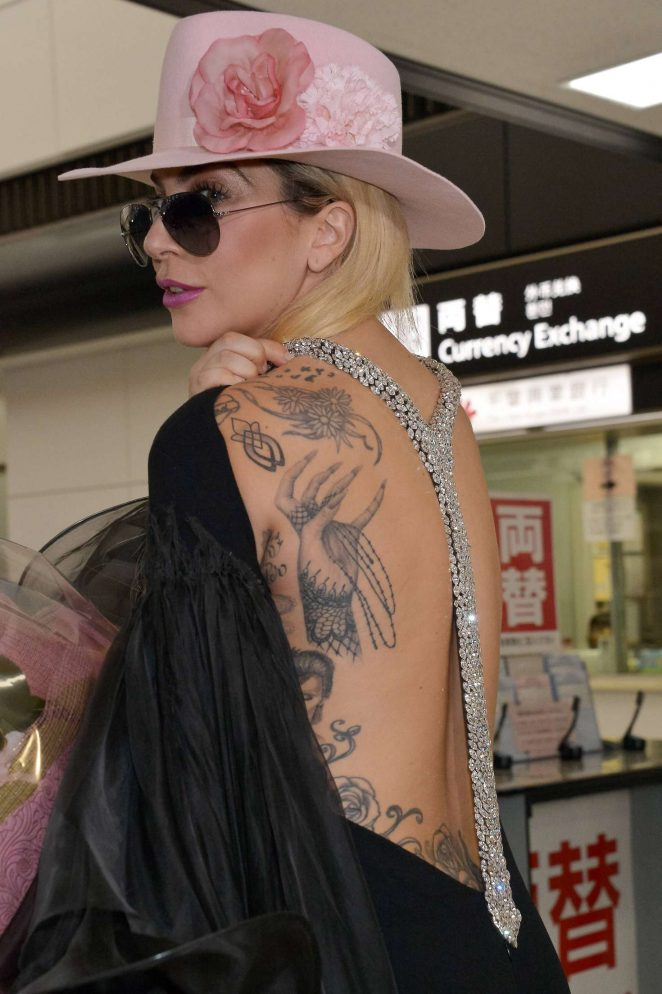 Lady Gaga at Narita International Airport in Tokyo