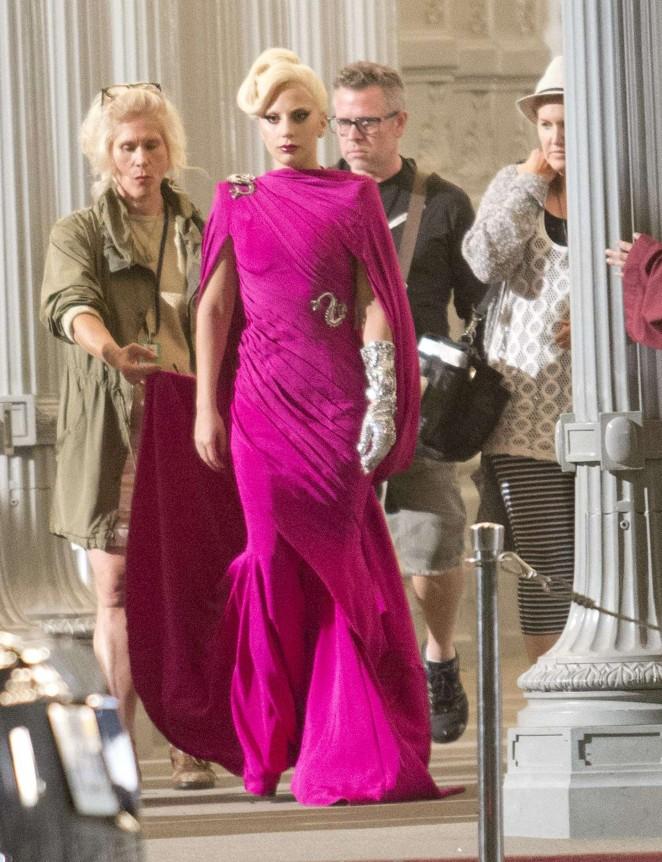 Lady Gaga - Filming 'American Horror Story' in LA
