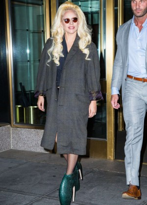 Lady Gaga heads out of her hotel in New York