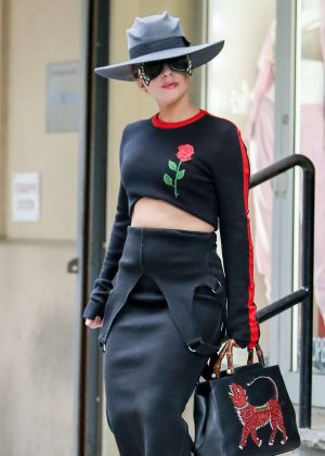 Lady Gaga in a Gucci outfit in New York City
