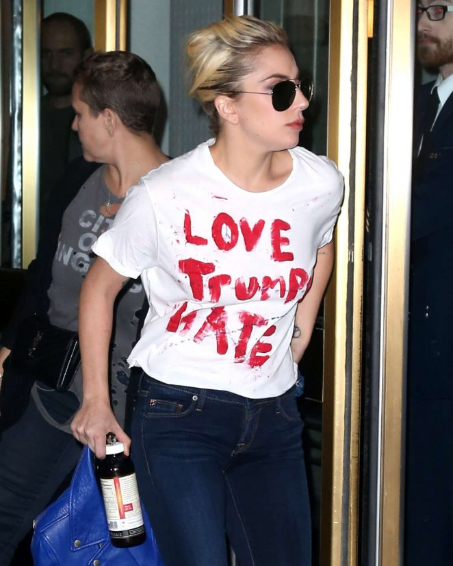 Lady Gaga in a 'Love Trumps Hate' Shirt in New York City