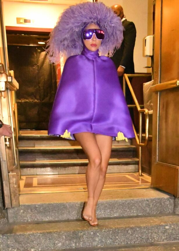 Lady Gaga - In a purple dress at Radio City Music Hall in New York City