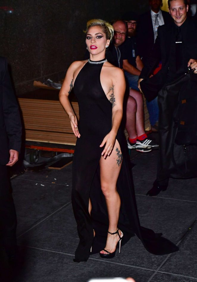 Lady Gaga in Black Dress Night out in New York City