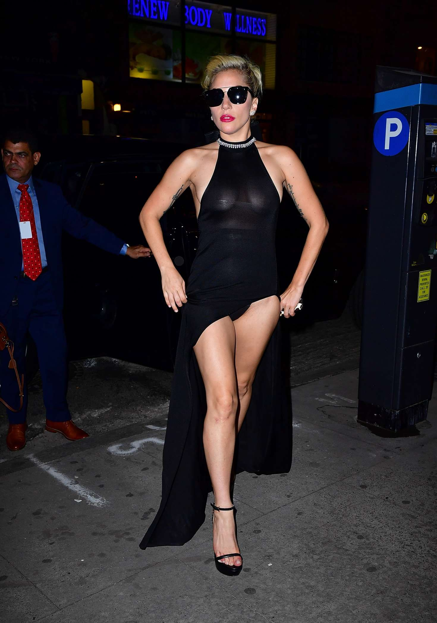 Lady Gaga in Black Dress Night out -07 - GotCeleb