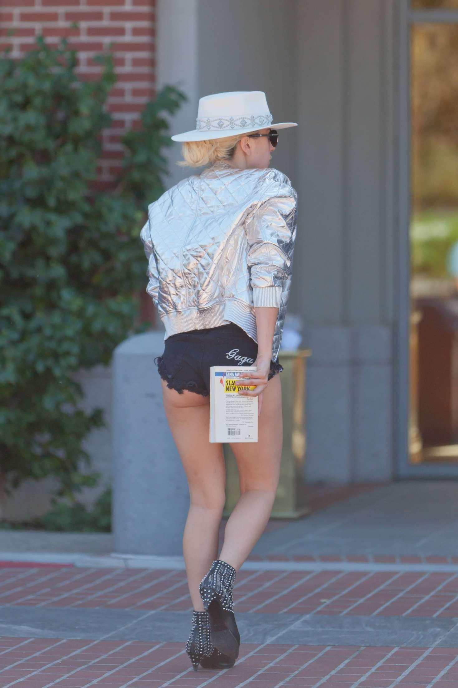 Lady Gaga in Black Jeans Shorts -19 - GotCeleb