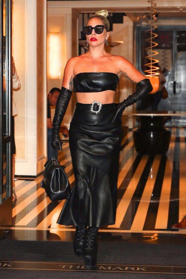 Lady Gaga in Black Leather Look - Leaves Mark Hotel in New York