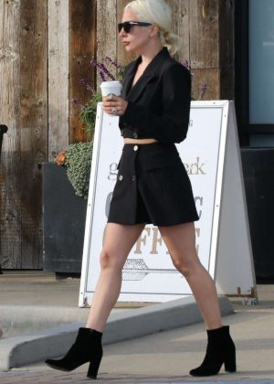 Lady Gaga in Black Mini Dress - Shopping in Malibu