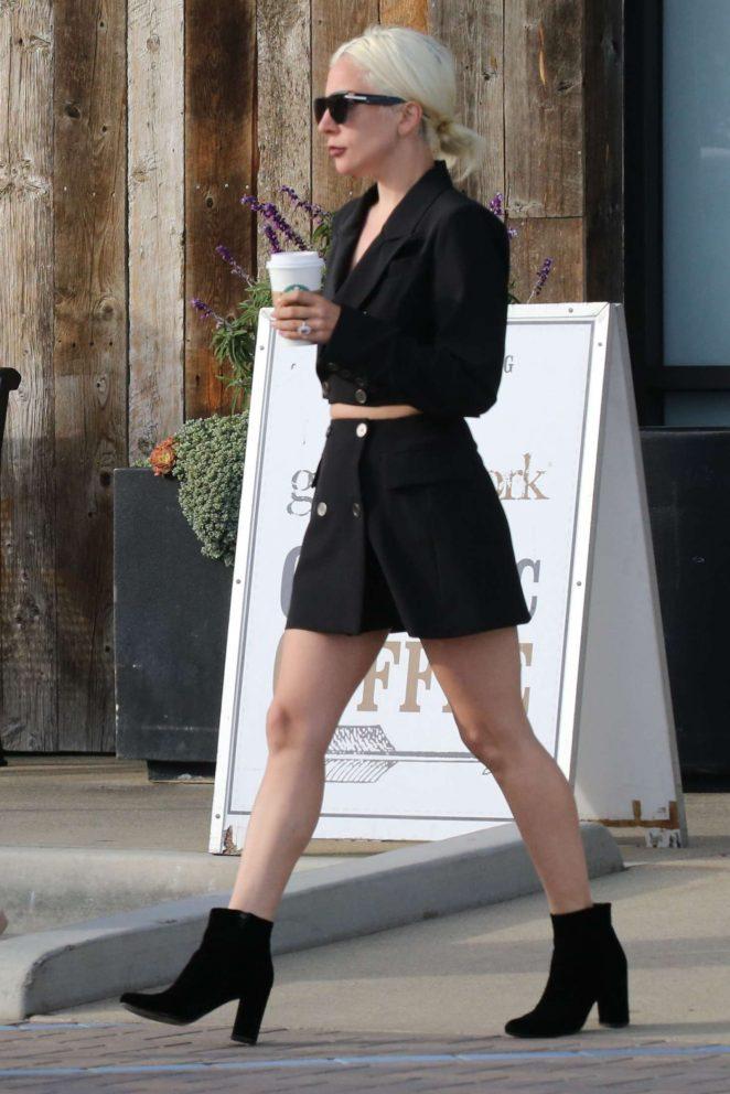 Lady Gaga in Black Mini Dress - Shopping in Malibu