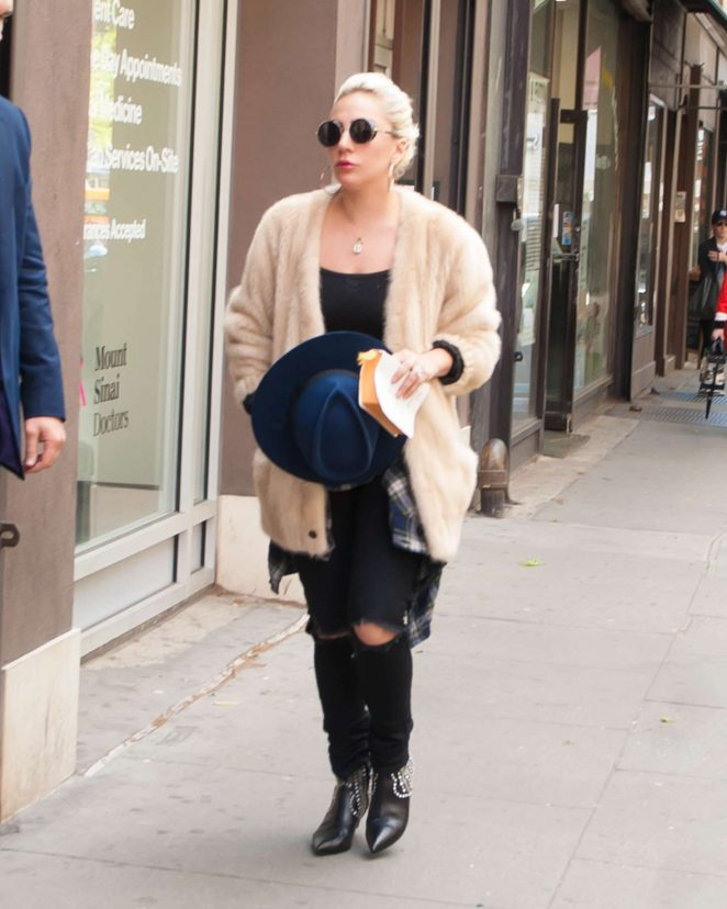 Lady Gaga in Black Ripped Jeans in New York City