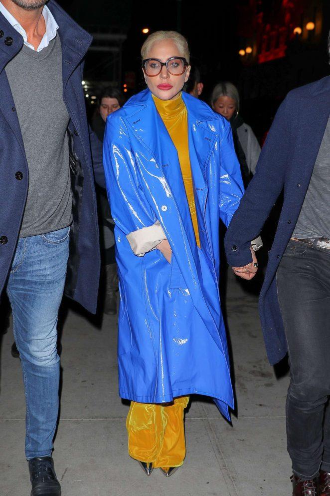Lady Gaga in Blue Coat - Leaving Marta Restaurant in New York City