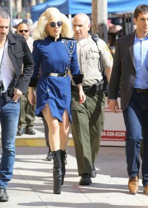 Lady Gaga in Blue Mini Dress on Sunset Boulevard