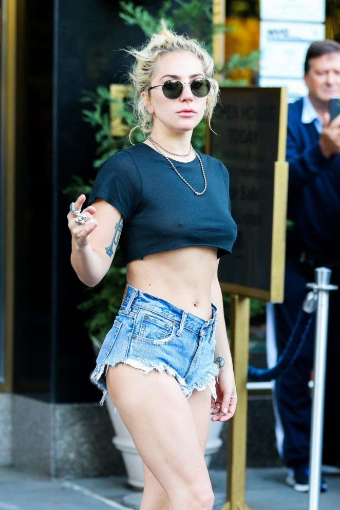 Lady Gaga in Cut-offs out in New York