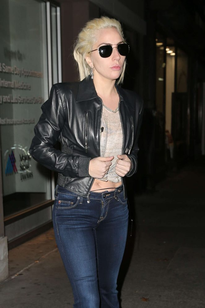 Lady Gaga in Jeans Leaving the Recording Studio in tNYC