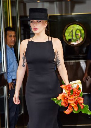 Lady Gaga in Long Black Dress out in New York