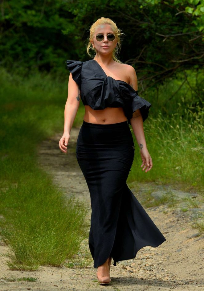 Lady Gaga in Long Skirt on a Hike in Montauk