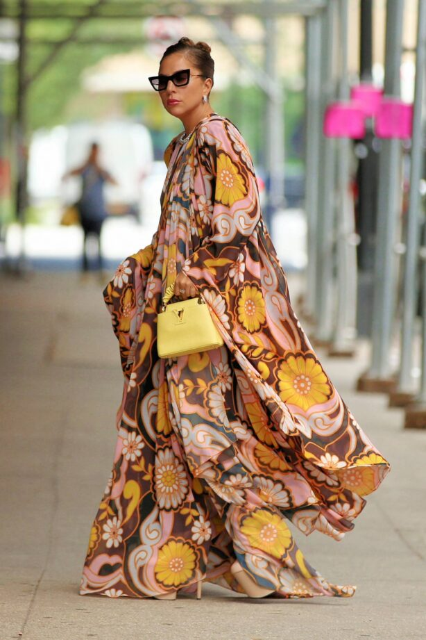 Lady Gaga - In maxi floral dress at Highline Stages in New York