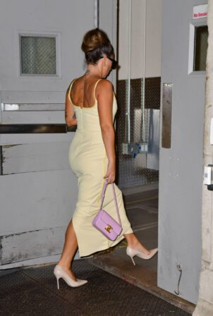Lady Gaga - In maxi yellow dress night out in Manhattan in New York City