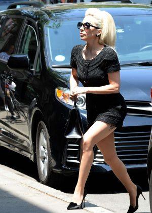 Lady Gaga in Mini Black Dress - Heads to her studio in NYC