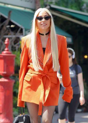 Lady Gaga in Orange Blazer - Out in New York City