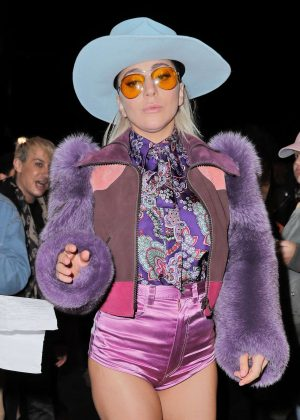 Lady Gaga in Purple after performing on 'Saturday Night Live' in NYC