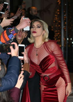 Lady Gaga in Red Dress - Leaves her hotel in Milan