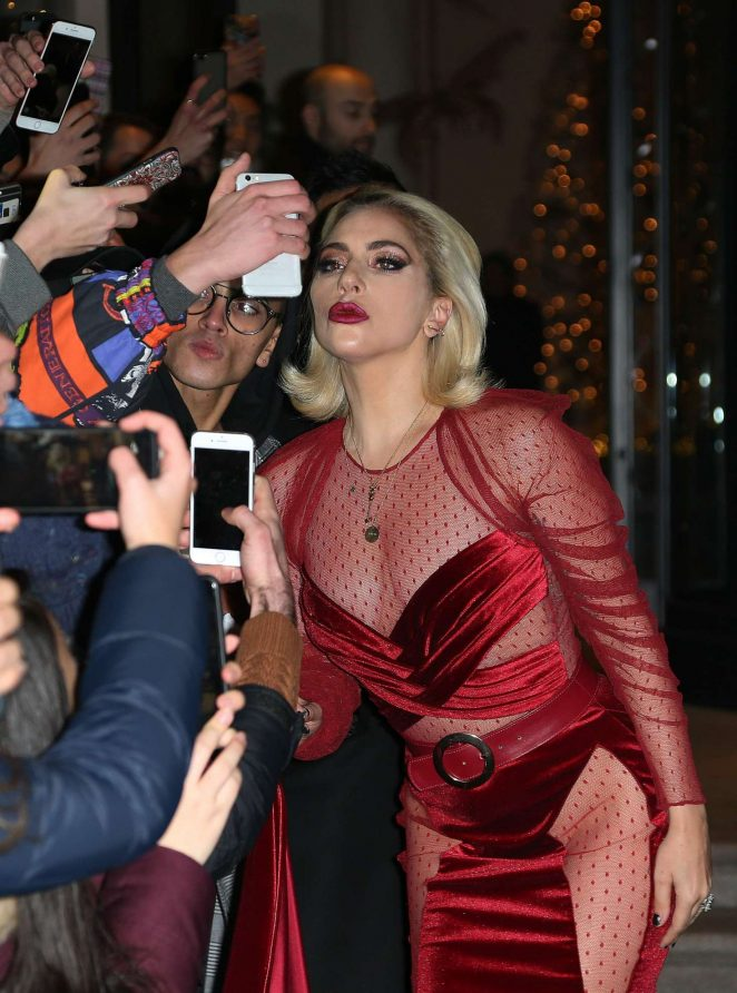 Lady Gaga in Red Dress - Leaves her hotel in Milan