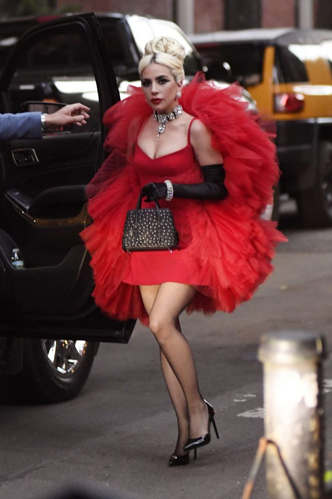 Lady Gaga in Red Dress out in NYC