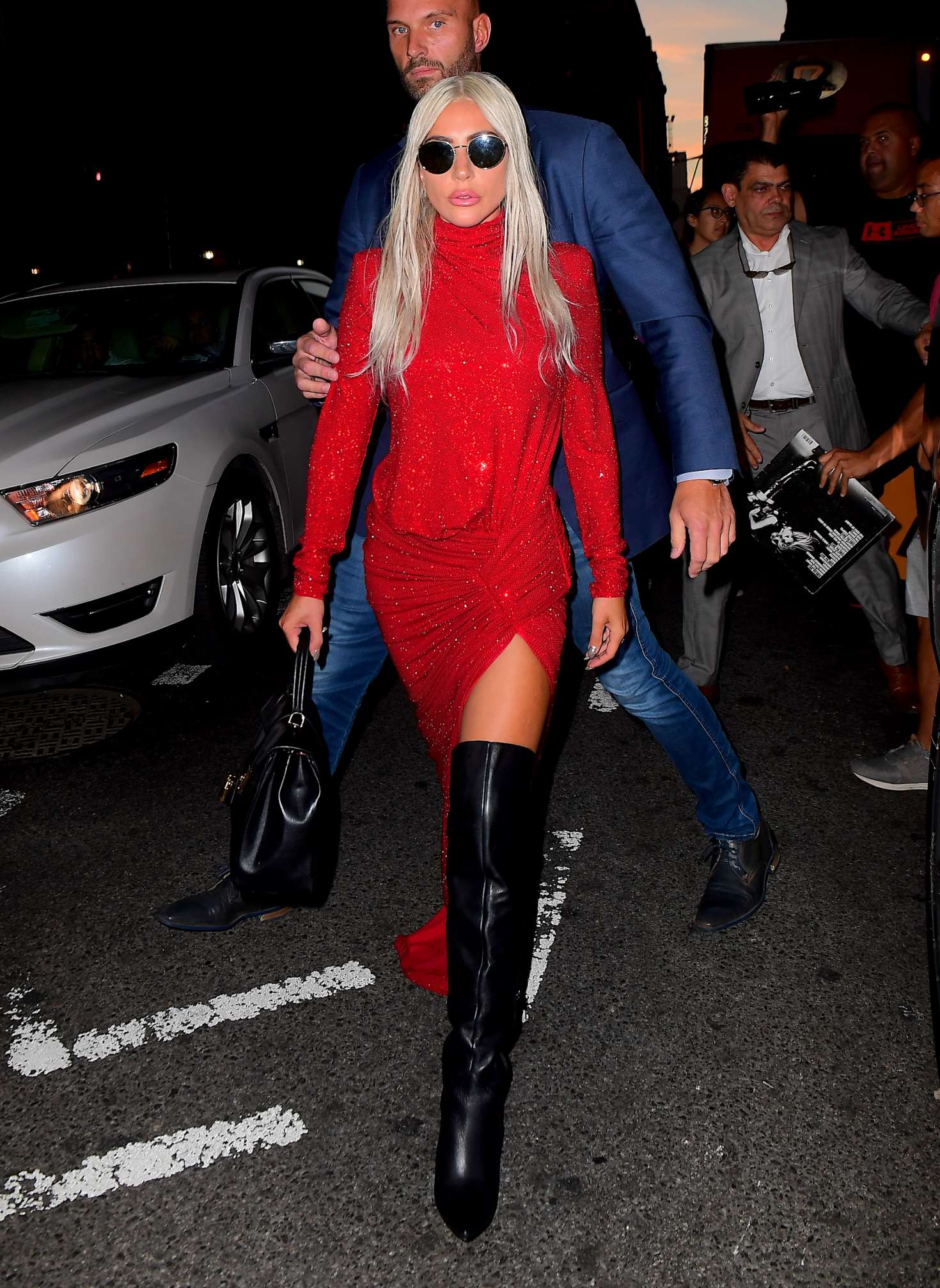 Lady Gaga In Red Dress Out In New York City Gotceleb