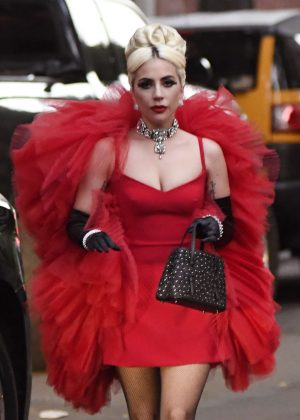 Lady Gaga in Red Dress - Out in New York City