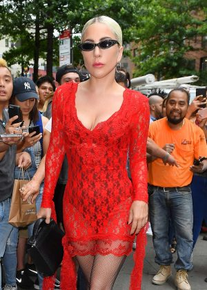 Lady Gaga in Red Mini Dress - Arriving to Electric Lady Studio in NYC