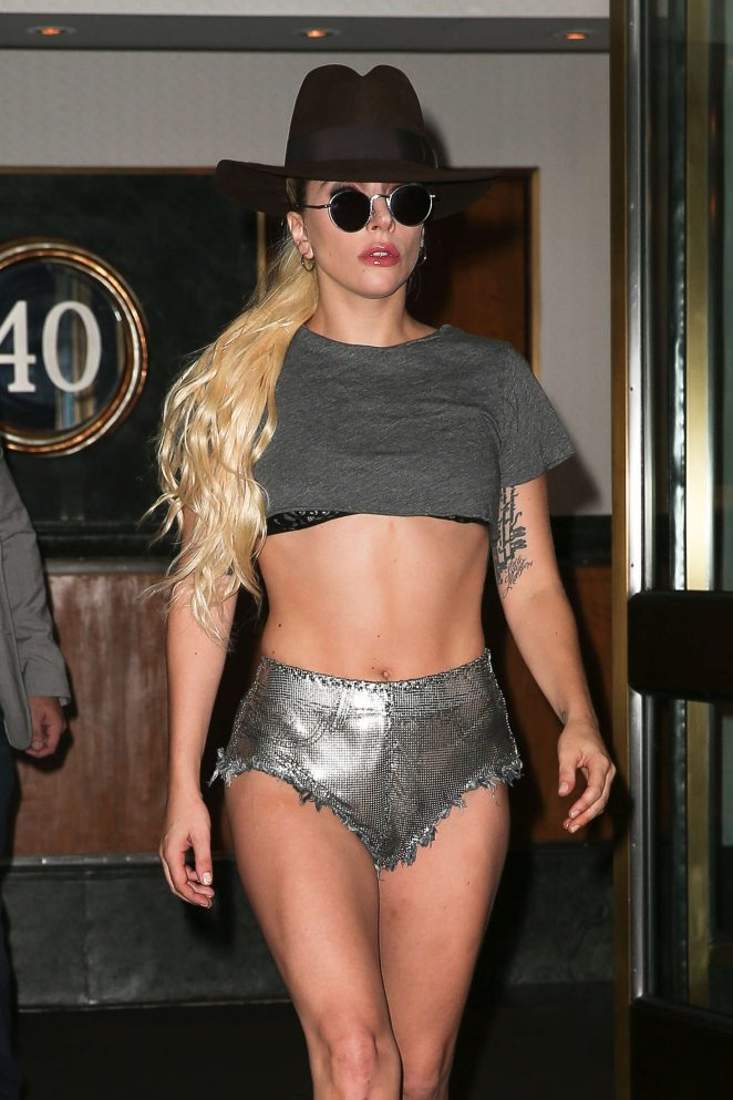 Lady Gaga in shiny silver shorts out in New York City