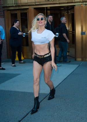 Lady Gaga in Short Shorts Leaving her apartment in New York