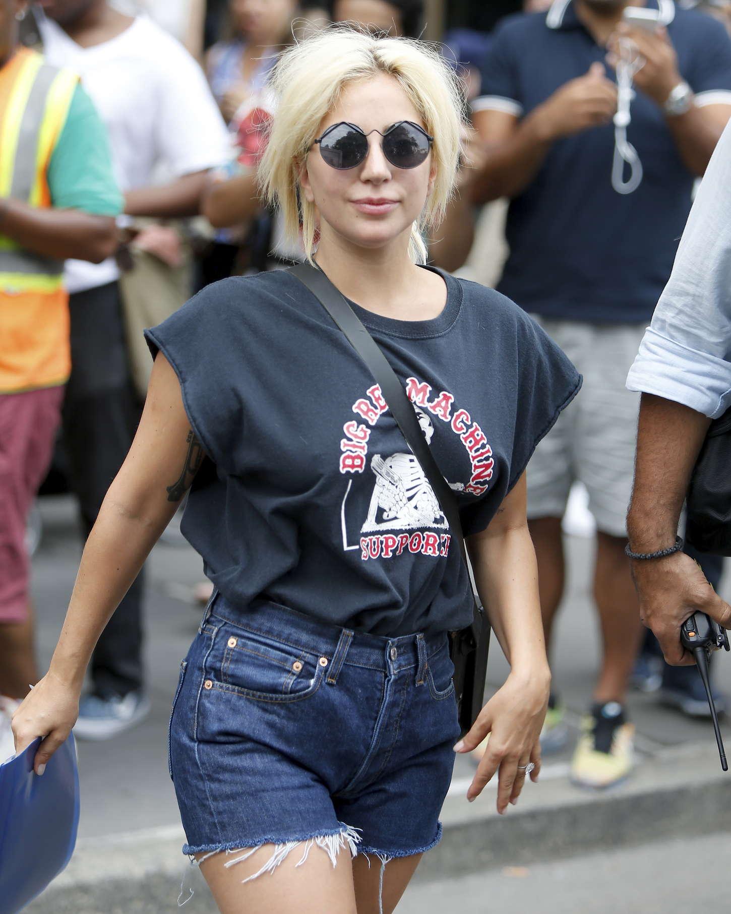 Lady Gaga In Denim Shorts -08 - GotCeleb
