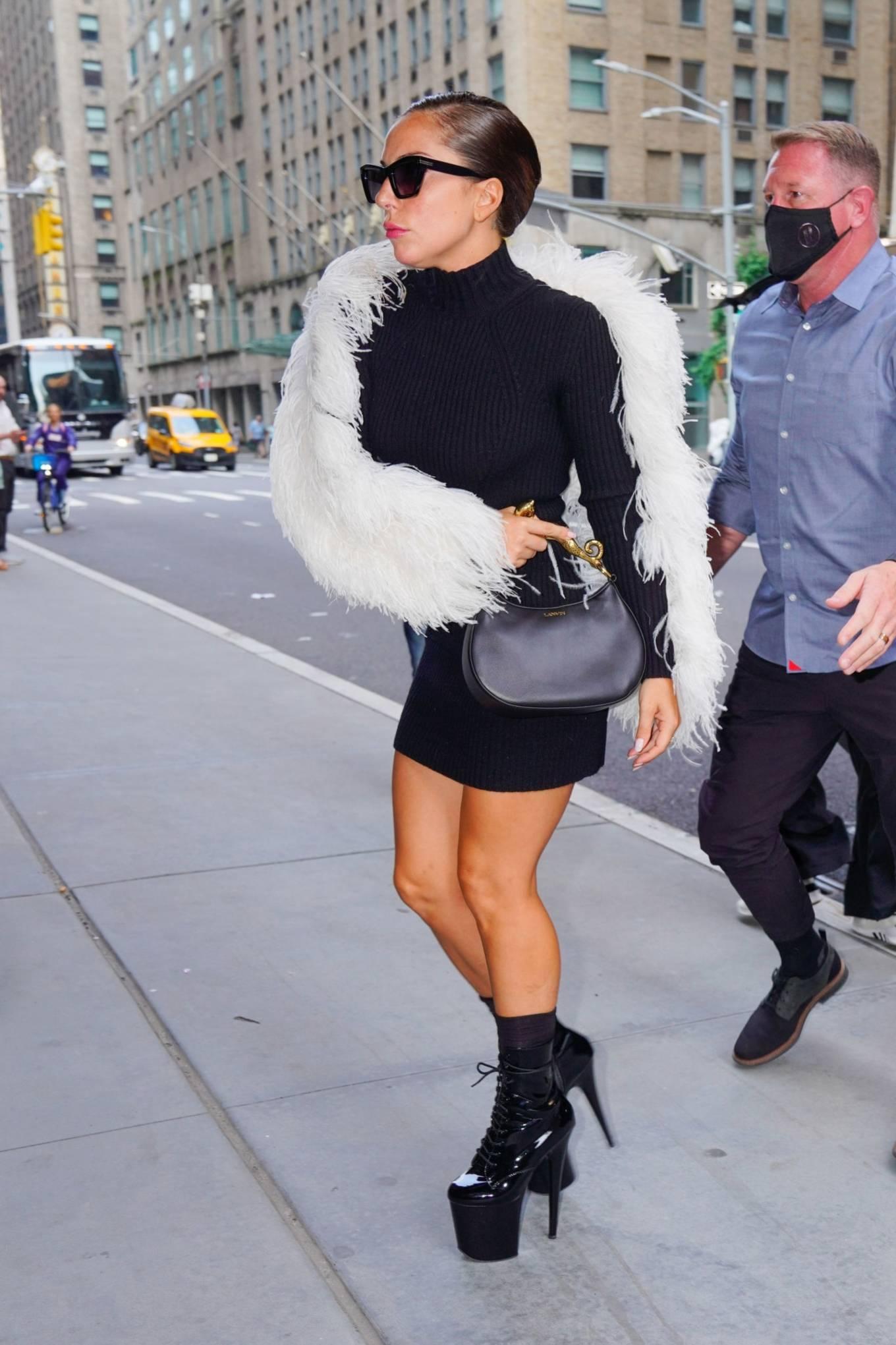 Lady Gaga 2021 : Lady Gaga – In signature black platform heels leaving milk studios in New York-05