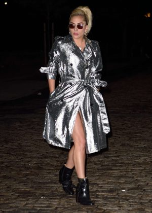 Lady Gaga in silver trench coat out in New York City