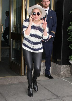 Lady Gaga in Tights Leaving her apartment in New York