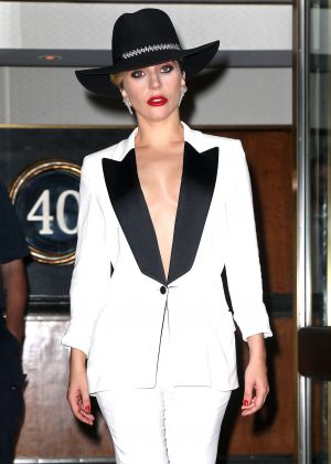 Lady Gaga in white outfit out in New York City