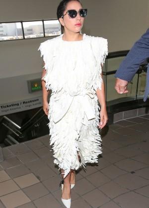 Lady Gaga in White Dress at LAX -01
