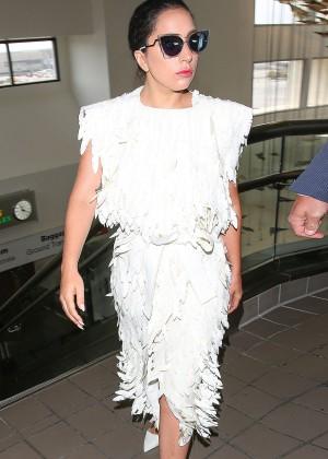 Lady Gaga in White Dress at LAX -03