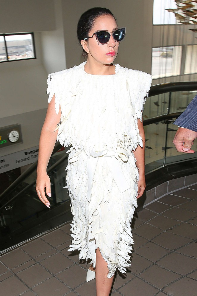 Lady Gaga in White Dress at LAX -03