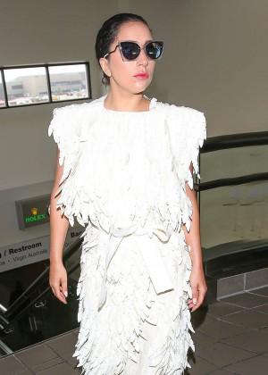 Lady Gaga in White Dress at LAX -04