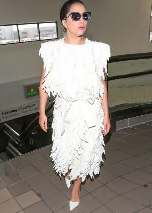 Lady Gaga in White Dress at LAX -05