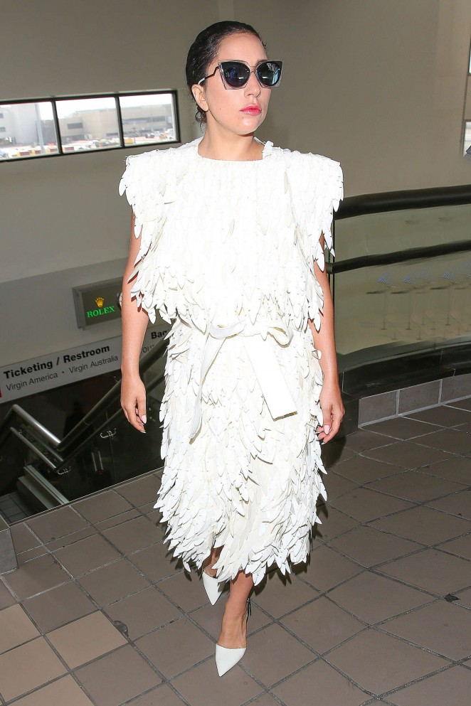 Lady Gaga in White Dress at LAX -05