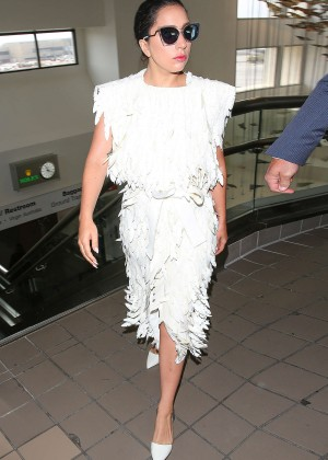 Lady Gaga in White Dress at LAX -06