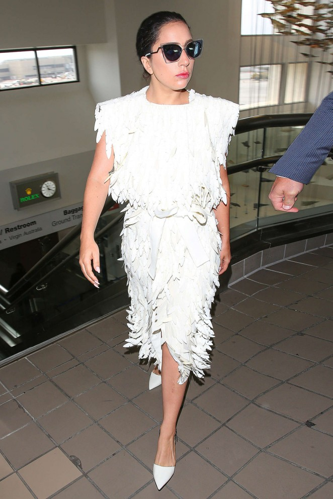 Lady Gaga in White Dress at LAX -06
