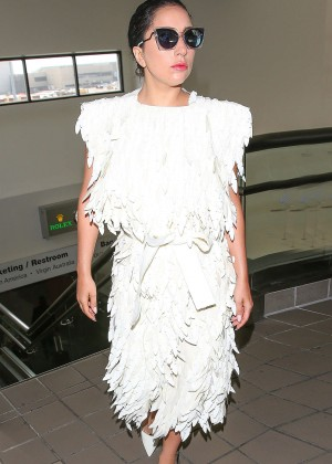 Lady Gaga in White Dress at LAX Airport in LA